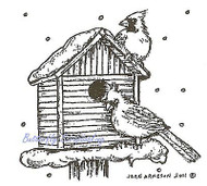 Two Cardinals On Birdhouse, Wood Mounted Rubber Stamp NORTHWOODS - NEW, CC8290