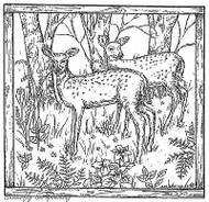 Two Fawns In Square Frame, Wood Mounted Rubber Stamp New NORTHWOODS - PP8532