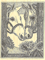 Two Horses, Wood Mounted Rubber Stamp IMPRESSION OBSESSION - NEW, H1950