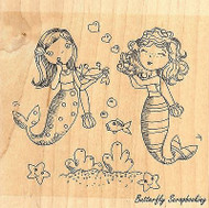 Two Mermaid Girls, Wood Mounted Rubber Stamp IMPRESSION OBSESSION - NEW, H11026