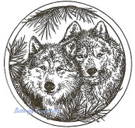Two Wolves In Pine Circle, Wood Mounted Rubber Stamp NORTHWOODS - NEW, PP9043