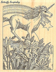 Unicorn & Rainbow, Wood Mounted Rubber Stamp IMPRESSION OBSESSION - NEW, H1935