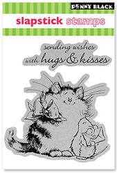 Valentine Cat Per-Fect Cling Unmounted Rubber Stamp Set PENNY BLACK 40-040 New