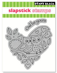 Valentine Heart Owl Cling Unmounted Rubber Stamp Set PENNY BLACK 40-045 New