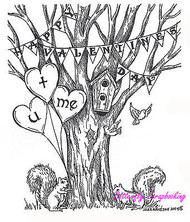 Valentine Tree U + ME Wood Mounted Rubber Stamp Valentine's Day Northwoods New