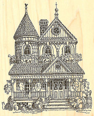 Victorian House, Wood Mounted Rubber Stamp IMPRESSION OBSESSION - NEW, G1746