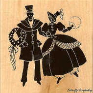 Vintage Couple Christmas, Wood Mounted Rubber Stamp STAMPENDOUS, NEW - Q204