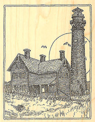 Vintage Currituck Lighthouse Wood Mounted Rubber Stamp Impression Obsession NEW