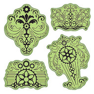 Vintage Parts Stamping Gear Unmounted Cling Rubber Stamp Set by Inkadinkado New