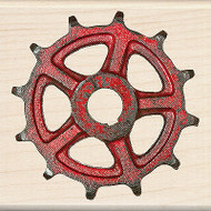 Vintage Rusty Old Gear Wood Mounted Rubber Stamp by Inkadinkado NEW