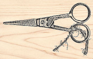 Vintage Scissors With String Wood Mounted Rubber Stamp IMPRESSION OBSESSION New
