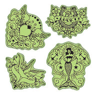 Vintage Tattoos Stamping Gear Unmounted Cling Rubber Stamp Set Inkadinkado New