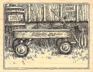 Wagon Fall Harvest Cat Wood Mounted Rubber Stamp Impression Obsession H1884 NEW