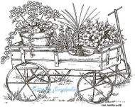 Wagon Potted Flowers Scene Wood Mounted Rubber Stamp Northwoods Rubber Stamp New