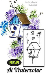 Water Color Birdhouse Wood Mounted Rubber Stamp Set Art Impressions 4595 NEW