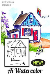 Water Color Cottage Beach Wood Mounted Rubber Stamp Set Art Impressions 4598 NEW