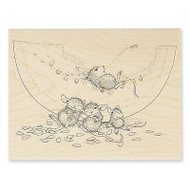 Watermelon Mice Wood Mounted Rubber Stamp STAMPENDOUS HMR32 New