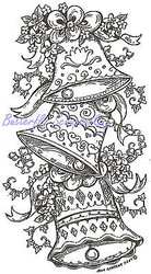 Wedding Bells & Flowers Wood Mounted Rubber Stamp NORTHWOODS - O6067 New