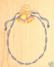 WEDDING Bells & Ribbon FRAME Wood Mounted Rubber Stamp Inkadinkado Stamp New