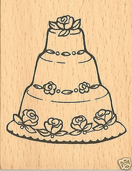 WEDDING CAKE Mounted Rubber Stamp Craft Stamps NEW