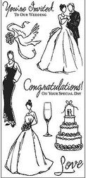 WEDDING Clear Unmounted Rubber Stamp Set INKADINKADO 60-30383 NEW