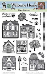 WELCOME HOME Clear Unmounted Rubber Stamps Set 26 Stamp Set HOTP 1142 New