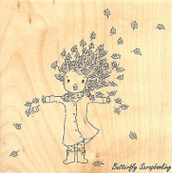 Wendy & Leaves, Wood Mounted Rubber Stamp IMPRESSION OBSESSION - NEW, F11124
