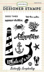 Whale Of A Tale Beach 13 Stamp Clear Unmounted Rubber Stamps Set Carta Bella New
