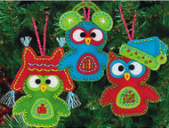Whimsical OWL Ornaments Felt Fun Embroidery Kit by Dimensions 72-08269 NEW