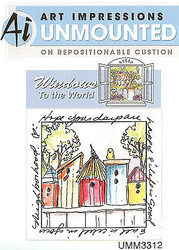 Windows To The World Cling Unmounted Rubber Stamp Art Impressions UMM3312 NEW