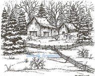 Winter Barn Fence And Spruce, Wood Mounted Rubber Stamp NORTHWOODS - NEW, P6784