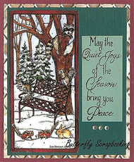 WINTER Bench Forest Friends Wood Mounted Rubber Stamp NORTHWOODS O9916 New