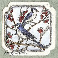 WINTER BIRDS BLUE JAYS Wood Mounted Rubber Stamp NORTHWOODS C9871 New