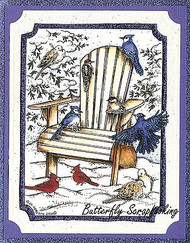 WINTER BIRDS Chair Snow Scene Wood Mounted Rubber Stamp NORTHWOODS P9859 New
