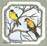 WINTER BIRDS GOLDFINCH Wood Mounted Rubber Stamp NORTHWOODS C9870 New