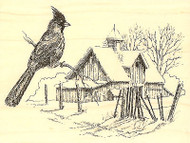 Winter Cardinal Bird Barn Wood Mounted Rubber Stamp Impression Obsession New