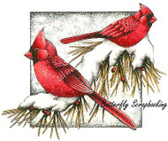 WINTER CARDINALS ON PINE Cling Unmounted Rubber Stamp C.C. Designs JD1035 New
