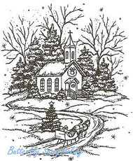 Winter Christmas Morning Church, Wood Mounted Rubber Stamp NORTHWOODS P1960 NEW