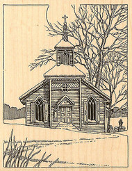 Winter Church Scene Wood Mounted Rubber Stamp Impression Obsession H1850 NEW