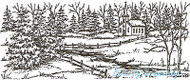 Winter Church Spruce Scene Wood Mounted Rubber Stamp Northwoods Rubber Stamp New