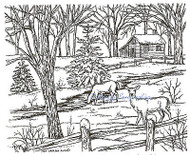 Winter Deer Cabin Scene Wood Mounted Rubber Stamp Northwoods Rubber Stamp New