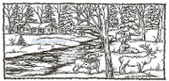 Winter ELK With Cabin & Stream Wood Mounted Rubber Stamp NORTHWOODS O9358 New