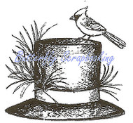 Winter Hat With Cardinal Wood Mounted Rubber Stamp Northwoods Rubber Stamp New