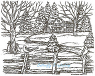 Winter House Fence Scene Wood Mounted Rubber Stamp Northwoods Rubber Stamp New