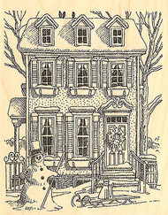 Winter House with Snowman Wood Mounted Rubber Stamp Impression Obsession NEW