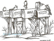 Winter Mailboxes & Birds, Wood Mounted Rubber Stamp NORTHWOODS - NEW, P8869
