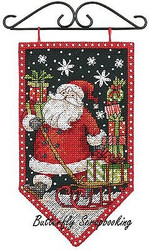 WINTER Santa Mini Banner Debbie Mumm Dimensions Cross Stitch Kit 72-74136 NEW