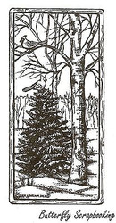 Winter Scene In Wood Rectangle, Wood Mounted Rubber Stamp NORTHWOODS- NEW, O9634
