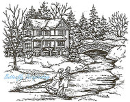 Winter Skaters On Pond Wood Mounted Stamp Northwoods Rubber Stamp NEW P1998