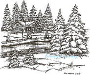 Winter Snow House In Pines Wood Mounted Rubber Stamp Northwoods Rubber Stamp New